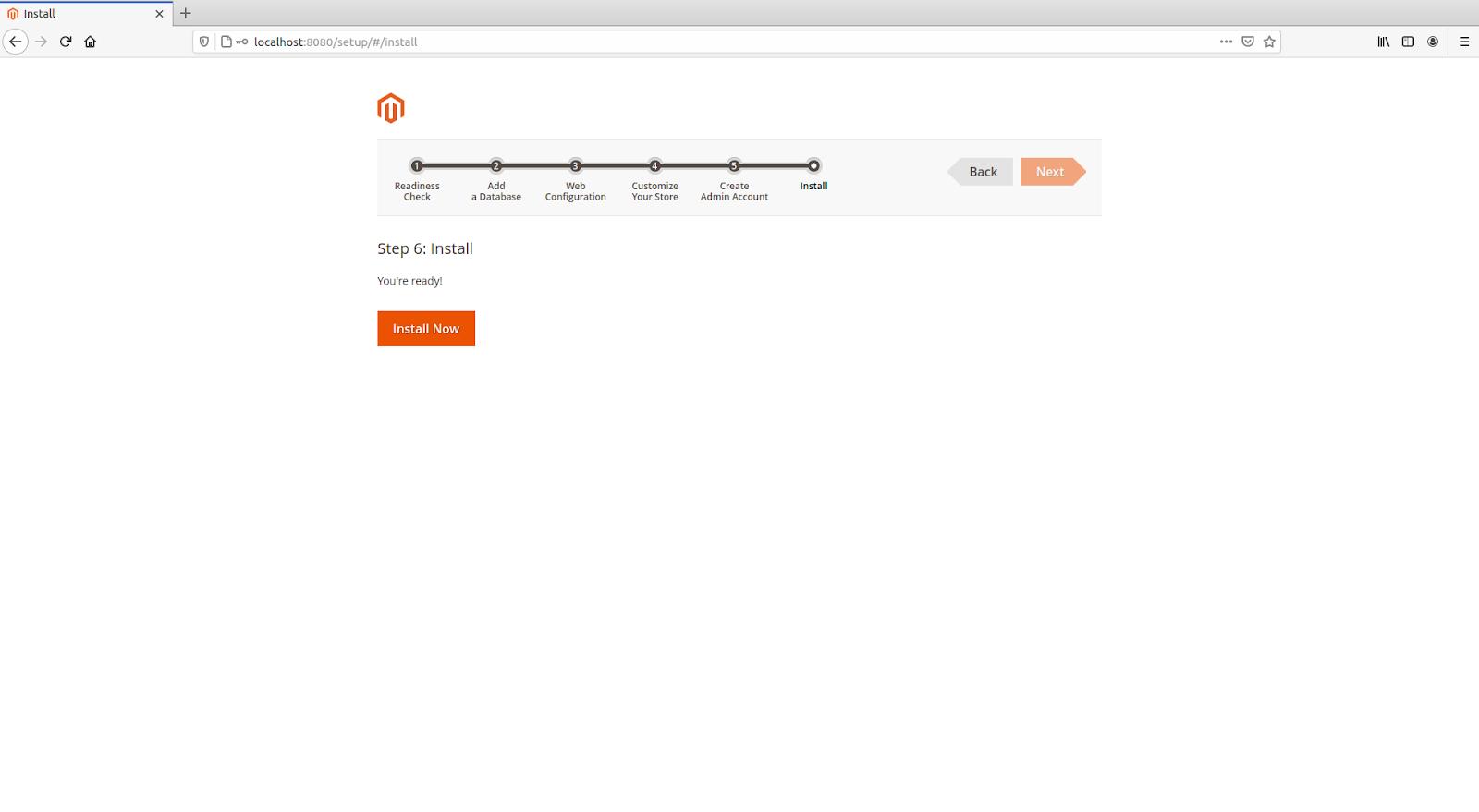 clicking-install-now-magento-installation