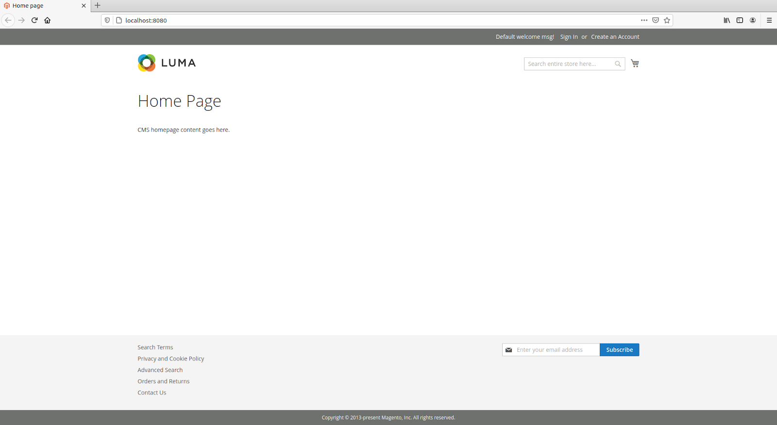 default-home-page-magento-installation